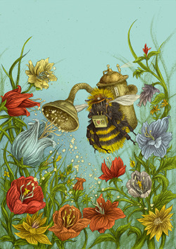 Maulbeerblatt mit Hummel-Illustration